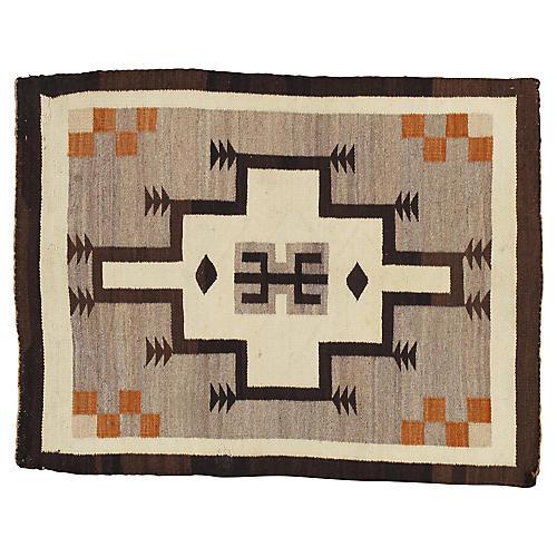"""Antique Navajo-Style Rug, 3' x 3'8"""""""