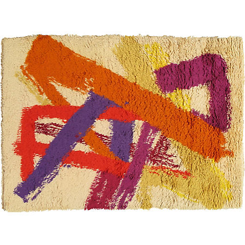 "Vintage Rya Carpet, 4'6""x6'5"""