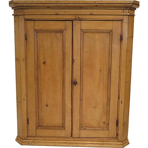 Antique Pine Hanging Corner Cupboard
