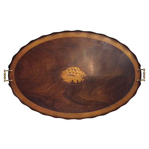 Large Regency-Style Tray w/ Shell Inlay