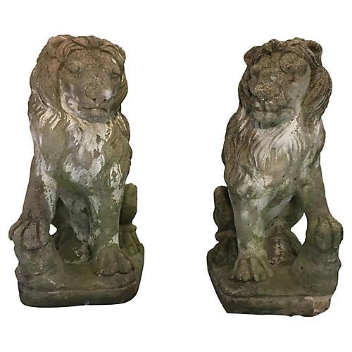 Concrete Entrance Lions, Pair