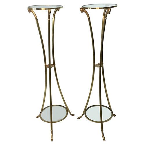 Italian Brass Stands w/ Ram Heads, Pair