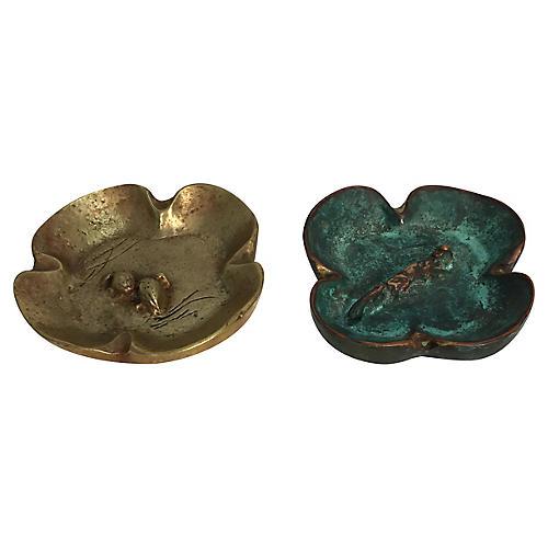 Brass Catchalls w/Quail & Fox, S/2