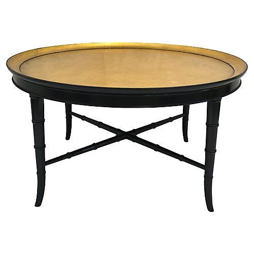Kittenger Cut Cane W/ Gilt Coffee Table. VINTAGE. Salmagundi