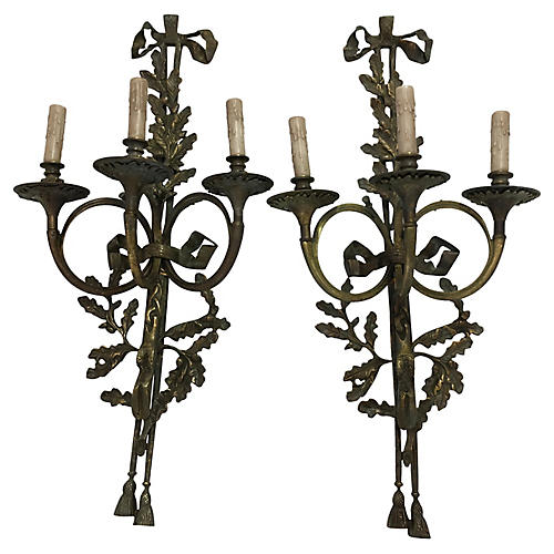 French-Style Bronze Sconces, S/2