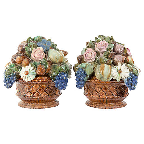 French Majolica Tureens, Pair