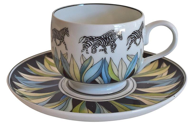 Lalique Limoges Zebra Cup & Saucer