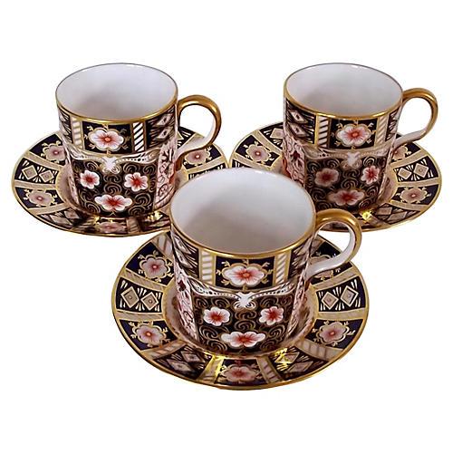 Royal Crown Derby Cups & Saucers, 6 Pcs