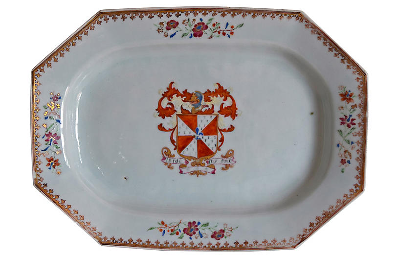 18th-C. Chinese Export Armorial Platter