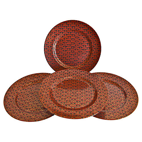 Porcelain Bamboo Weave Plates, S/4