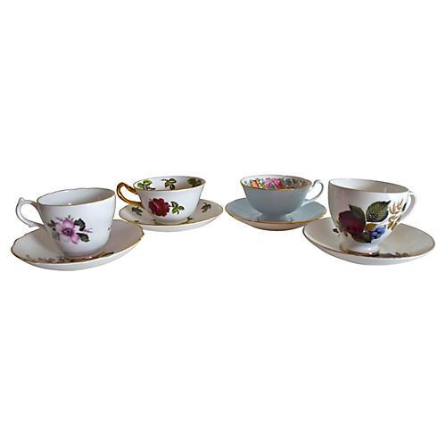 English Cups & Saucers, 8 Pcs