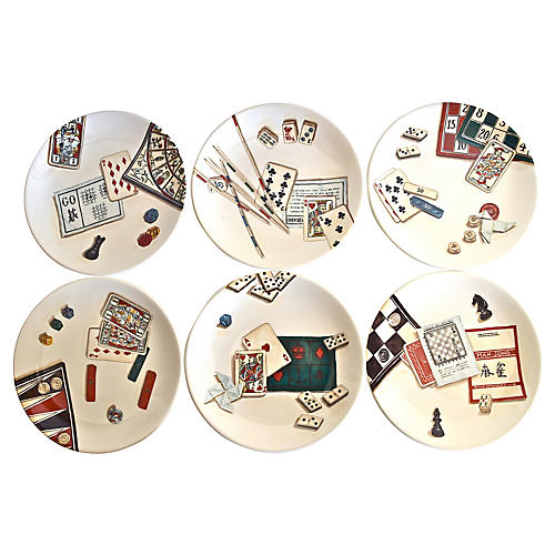 Gien Ceramic Gaming Plates, S/6