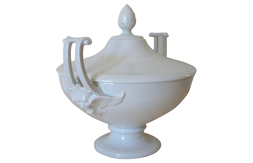 Green Men White Tureen