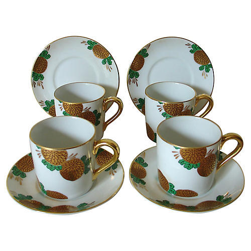 Fitz & Floyd Teacups & Saucers, 8-Pcs