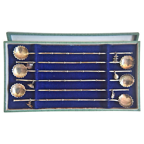Sterling Silver Spoon Straws, S/6