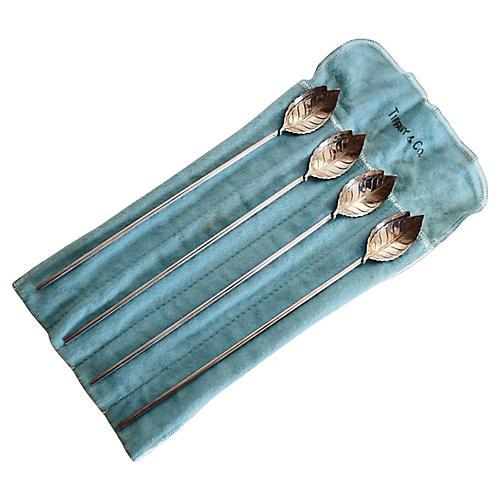 Tiffany & Co. Sterling Spoon Straws, S/4