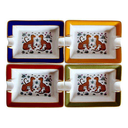 Hermès Cheetah Ashtrays, Set of 4