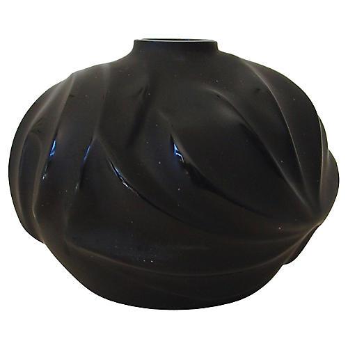 Lalique Black Royal Palm Vase w/Box