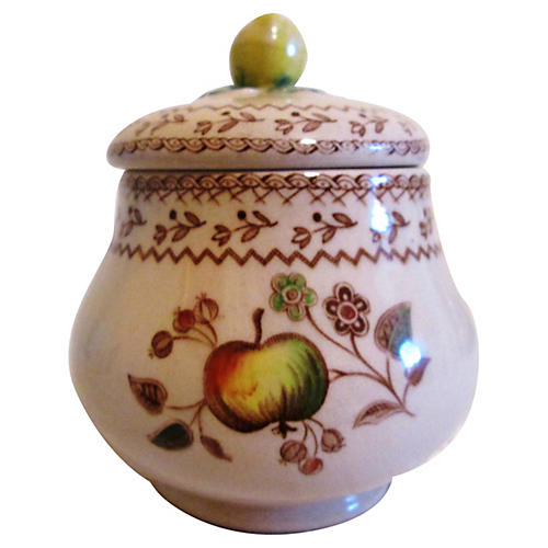 English Floral & Fruit Sugar Bowl