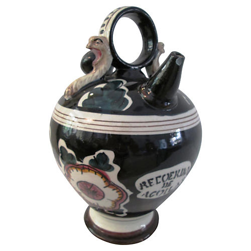 Majolica Memory of Eagles Wine Jug