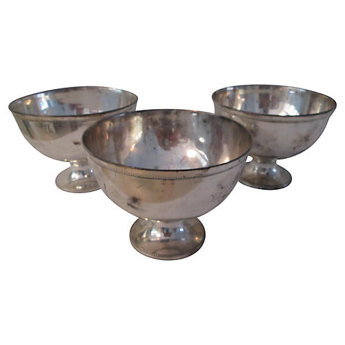Indian Silver & Brass Footed Bowls, S/3