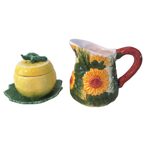 Sunflower & Lemon Creamer & Sugar, 2-Pcs