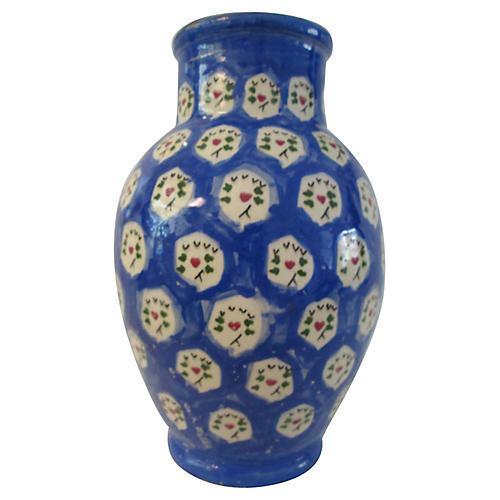 1980s Portuguese Handmade Pottery Vase