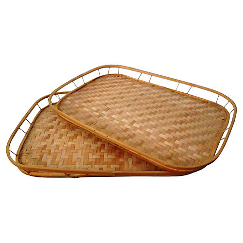 1970s Wicker & Rattan Trays, S/2