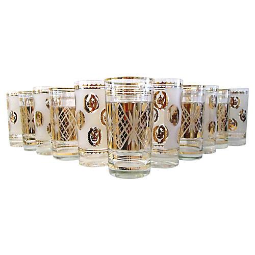 Midcentury Gold Highball Glasses, S/12