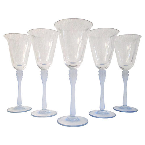 Powder Blue Crystal Wineglasses, S/5