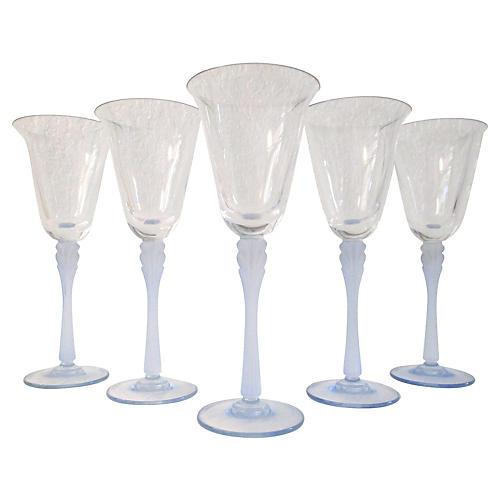 Powder Blue Crystal Wineglasses, S/5