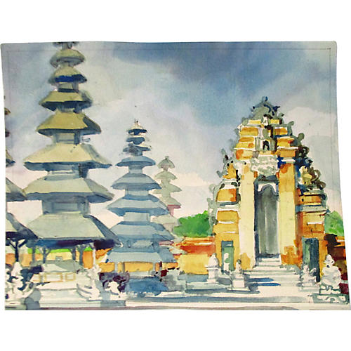 Asian Pagodas, Watercolor on Paper