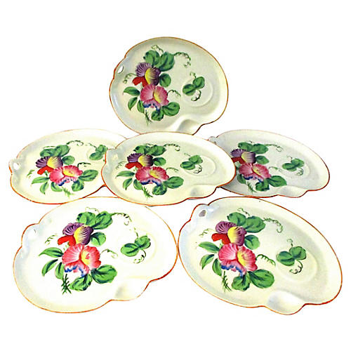 Floral Stoneware Snack Plates, S/6