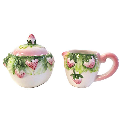Pink Strawberry Creamer & Sugar Set