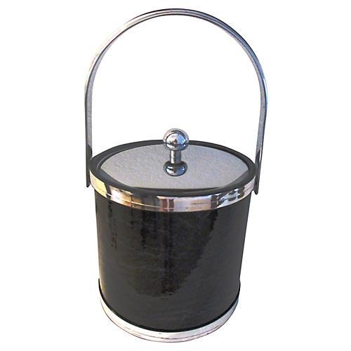Silver & Black Faux Marble Ice Bucket