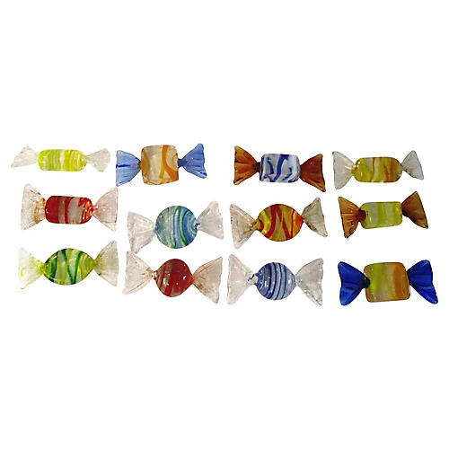 Murano Blown Glass Candy Pieces, 12 Pcs