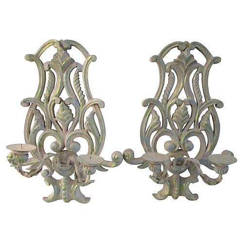 Carved Candle Sconces, Pair