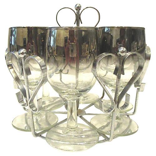 Silver Fade Wine Glasses w/Caddy, 7 Pcs