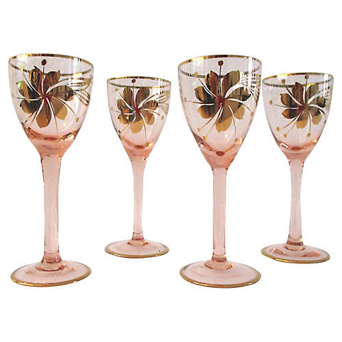Pink Hungarian Cordial Glasses, S/4
