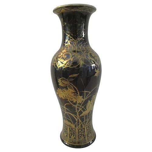 Japanese Black & Gold Botanical Vase