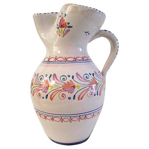Spanish Pottery Pinched Spout Pitcher