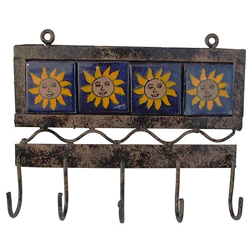Mexican Sun Tile Hanging Hooks