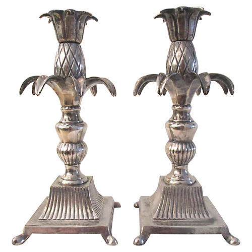 Pineapple Candle Holders, Pair