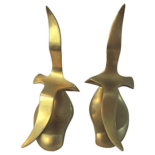 Solid Brass Seagull Bookends, Pair