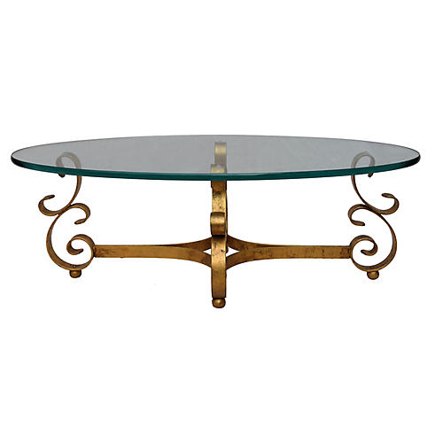 Gilt Wrought Iron & Glass Coffee Table