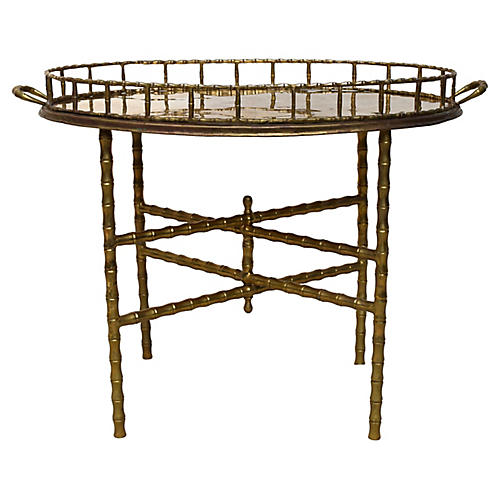 Hollywood Regency Bamboo-Style Table