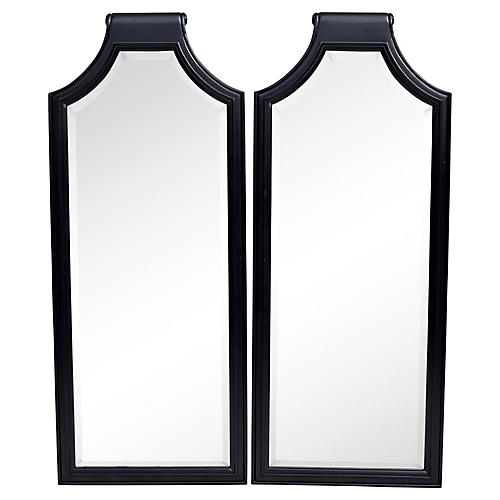 Chinoiserie Scroll-Top Mirrors, Pair