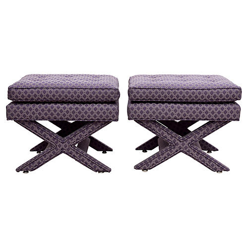Parsons-Style X-Base Benches, Pair