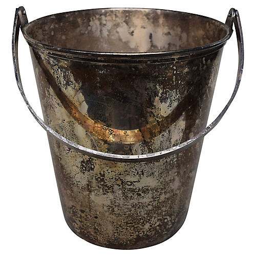 Ice Bucket of Silver Plate Copper