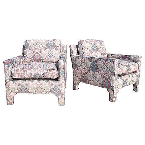 James Mont Style Club Chairs, Pair